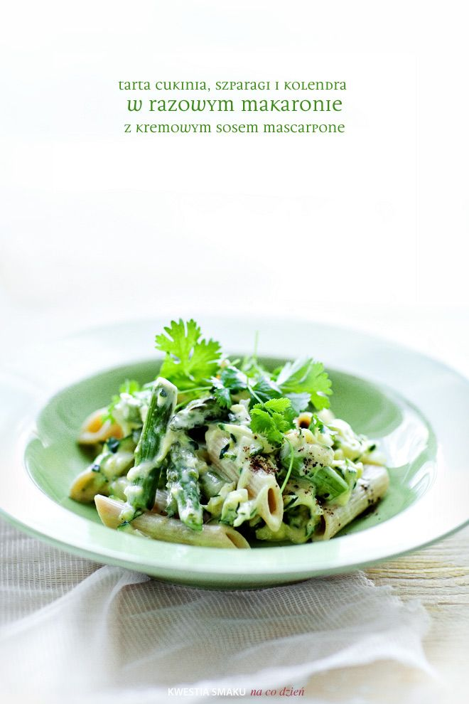 Pasta with shredded zucchini with asparagus, cilantro and sauce of mascarpone cheese and eggs.