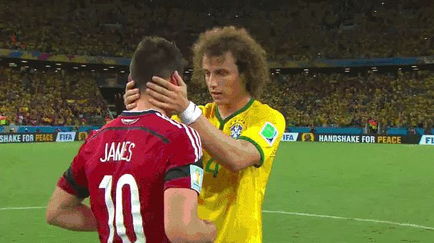 Brazil's David Luiz consoles Colombia's James Rodriguez who was in tears after defeat | Sportskeeda