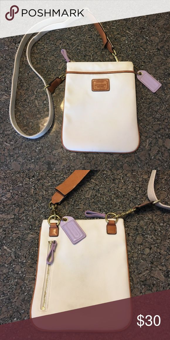 Coach Swingpack - Nylon Nylon Coach Swingpack. Offwhite with tan leather accents. In great condition Coach Bags Crossbody Bags