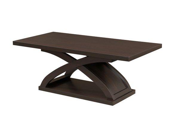 Arkley Contemporary Dark Walnut Glass Solid Wood Coffee Table