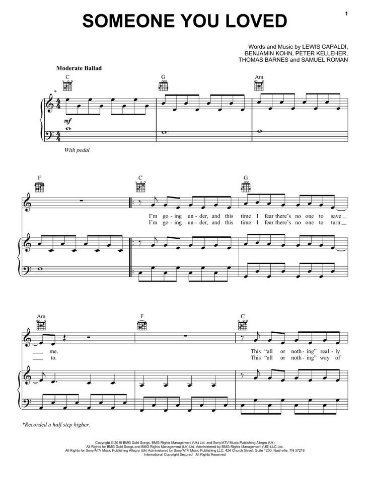 Lewis Capaldi Someone You Loved 409456 With Images Piano Sheet
