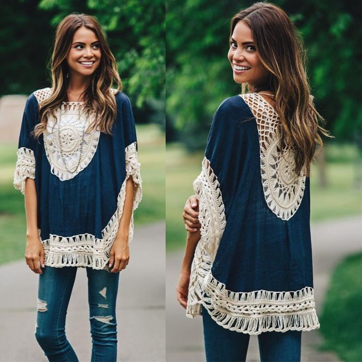 Lovely NEW 2016 Elegant Vintage Style Super Comfortable Oversized Top Quality Crochet Lace Knitted Boho Tunic Top - One Size 3 Colors