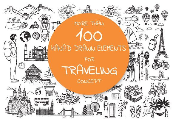 Hand drawn icons about traveling by Bimbim on @creativemarket