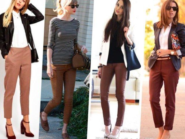Картинки по запросу брюки женские коричневые