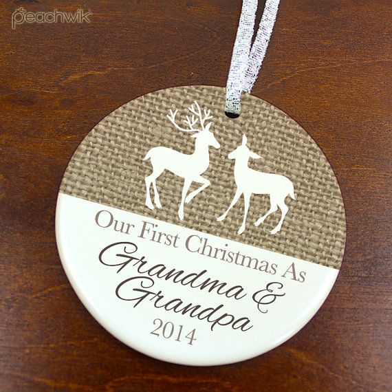 This adorable ornament is the perfect personalized keepsake or Christmas gift for any couple to celebrate their first holiday season as grandparents!
