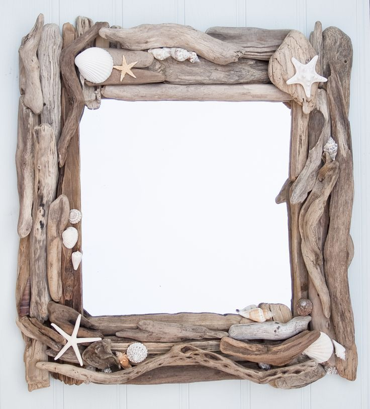 beach crafts sea sells and drift wood | Driftwood and sea shell mirror | Driftwood Dreaming - Picmia