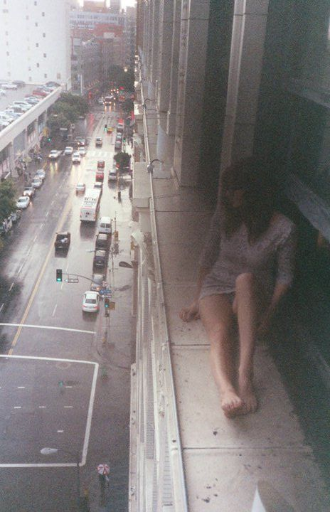 There is a wide ledge outside the office window and that's where I go to hide. http://chloethurlow.com/2014/05/death-and-the-maiden-2/