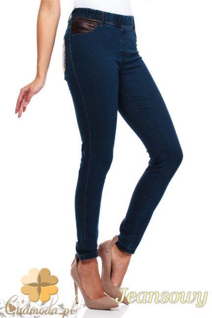 Damskie rurki jeansowe z kieszeniami z ekologicznej skóry marki Paulo Connerti.  #cudmoda #moda #ubrania #odzież #clothes #hosen #legginsy #leginsy #pants