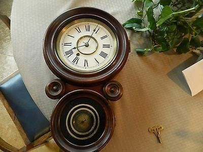 Older new Haven miniature figure 8 wall clock.er new Haven miniature figure 8 wall clock.. � It is approximately 19 inches long and 11 inches wide. Signed movement has been cleaned, oiled , and bushed