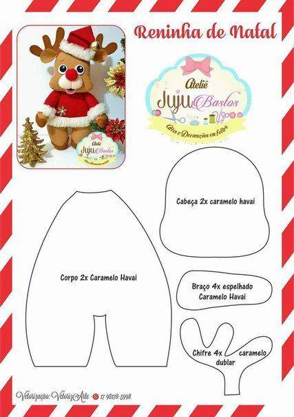 Moldes de navidad para hacer figuras en fieltro moldes de for Manualidades renos navidenos