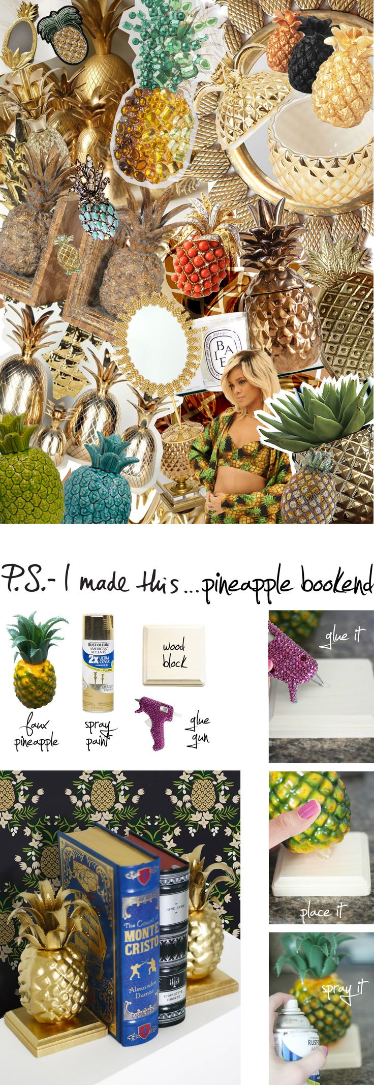 Pineapple Bookends « P.S. – I Made This…