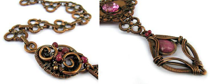 Niesamowity naszyjnik wykonany z miedzi i wyjątkowej urody łezki korundu i rubinu