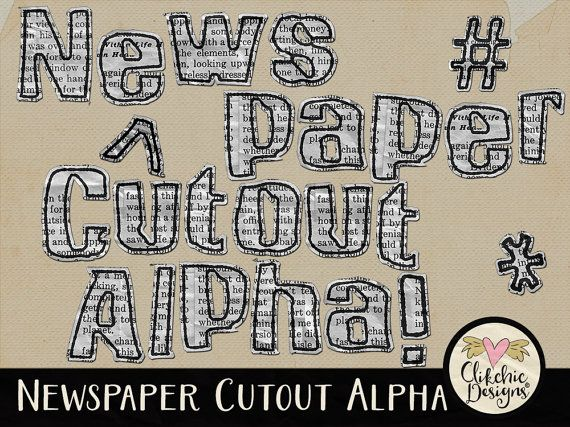 Newsprint Digital Scrapbook Alpha Clip Art - News Paper Newsprint Cutout Alphabet Clipart by ClikchicDesign #photoshop #graphic #design by Clikchic Designs