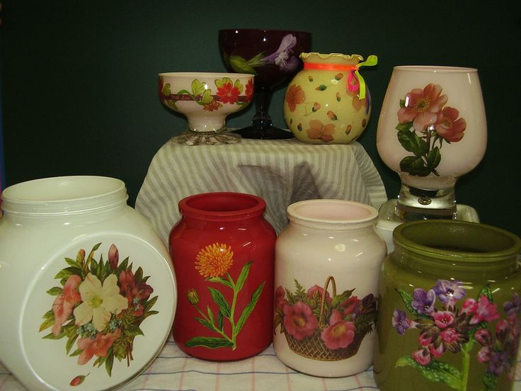 Decoupage - old glass containers.
