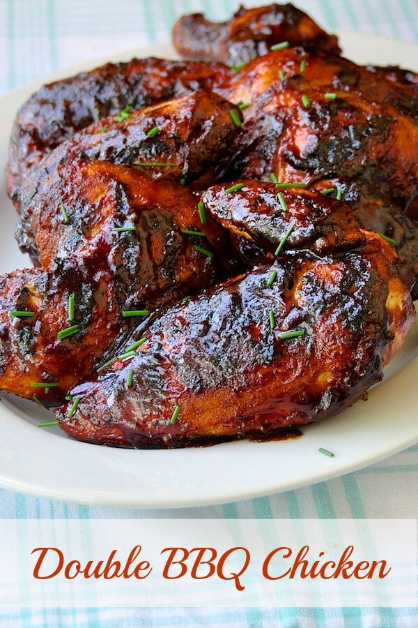 Double Barbecue Chicken - using both a barbecue dry rub to infuse flavour and an easy sweet and sticky homemade BBQ sauce to finish, doubles the great flavour in this amazing summer chicken recipe.