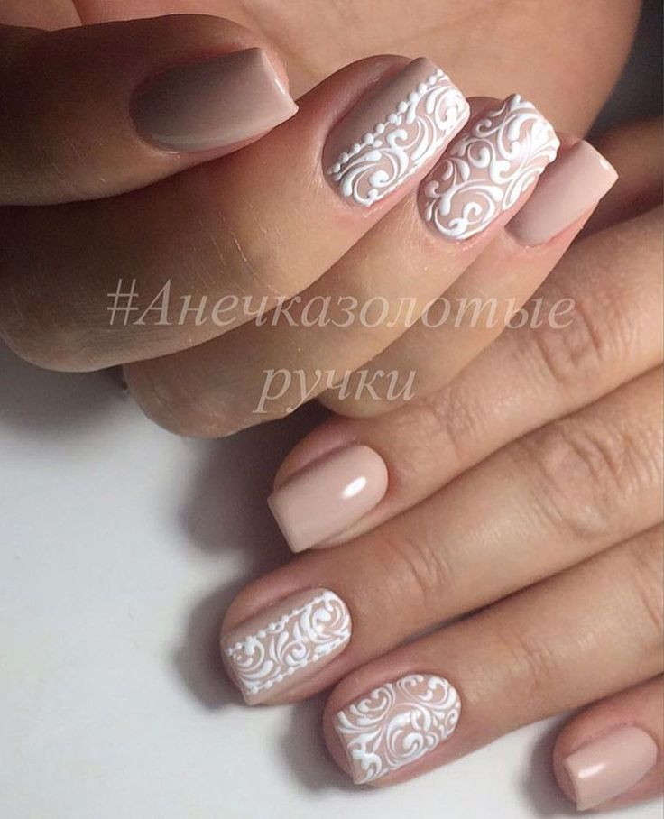 Choose pale beige nail polish. With it you create the conception of restrained casual manicure. But you can add some