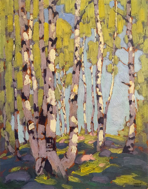 Lawren Harris - Birches 13.5 x 10.5 Oil on board (1916)