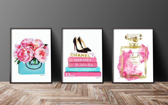 Set of 3 fashion inspired posters watercolor  -The gold is an effect, a photo of gold foil- -Gold effect on one book title & perfume bottle  This listing is for the above 3 prints, but if you would like to swap around colors or flower styles, just message me and I will be happy to list a new combo for you..  - You will receive one of each print, 3 in total. - Dimensions: select from drop down menu - 8x10 inches 12x16 inches, 12x18 inches,16x20 inches,18x24 inches - 24x36 inches is availab...