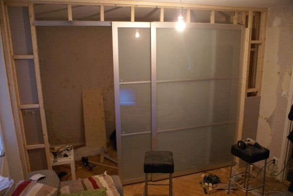 ikea wardrobe doors as room divider  TAMPA OFFICE Pinterest - armoire ikea porte coulissante