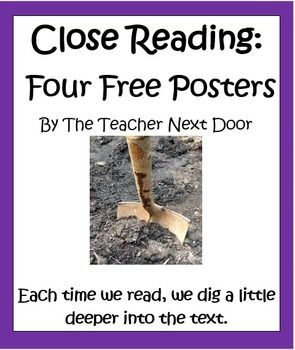 These four free Close Reading Posters by The Teacher Next Door can be displayed in your classroom to help you teach this important Common Core strategy. All of these posters as well as an entire packet of close reading resources can be found in my Close Reading Using Informational Text Unit: http://www.teacherspayteachers.com/Product/Close-Reading-Using-Informational-Text-Common-Core-4th-and-5th-1022517