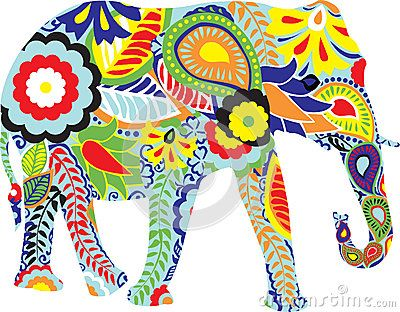 Silhouette of an elephant with Indian designs by Roman522, via Dreamstime