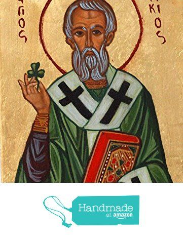 St Patrick Byzantine icon of the Irish Saint hand painted religious orthodox catholic gift from Angelicon https://www.amazon.com/dp/B01GET639C/ref=hnd_sw_r_pi_dp_HQQpybNDSS77S #handmadeatamazon