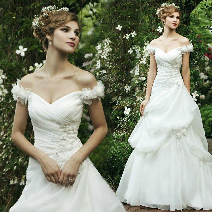 Pretty Sleeveless with Dropped waist wedding dress