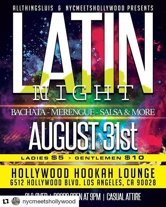 """Credit to @nycmeetshollywood  """"There's no place in #LosAngeles where I can go dance some good #Bachata #Merengue or #Salsa!!"""". Yup we hear it all that time from our east coast friends living on the west coast. Luckily they have us and so do you. Save the date see you on Thursday August 31. . . #NYCmeetsHollywood #LatinNight #LosAngeles #Party    #HollywoodTapFL #HollywoodFL #HollywoodBeach #DowntownHollywood #Miami #FortLauderdale #FtLauderdale #Dania #Davie #DaniaBeach #Aventura #Hallandale…"""
