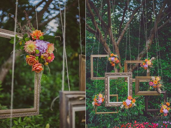 picture frame decor~~~wouldn't this be so pretty for a garden party besides the wedding it was featured in?