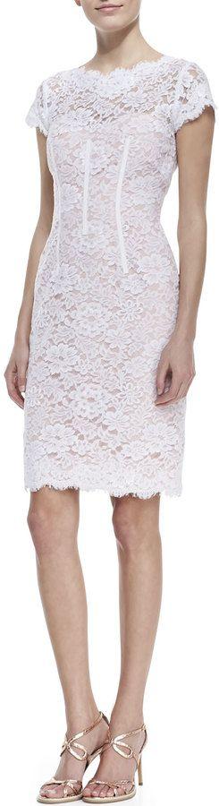 ML Monique Lhuillier Cap-Sleeve Lace Sheath Cocktail Dress, White/Petal #fitgirltravels #womensfashion