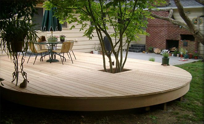 Circular decking knott round deck west hills decking for Circular garden decking