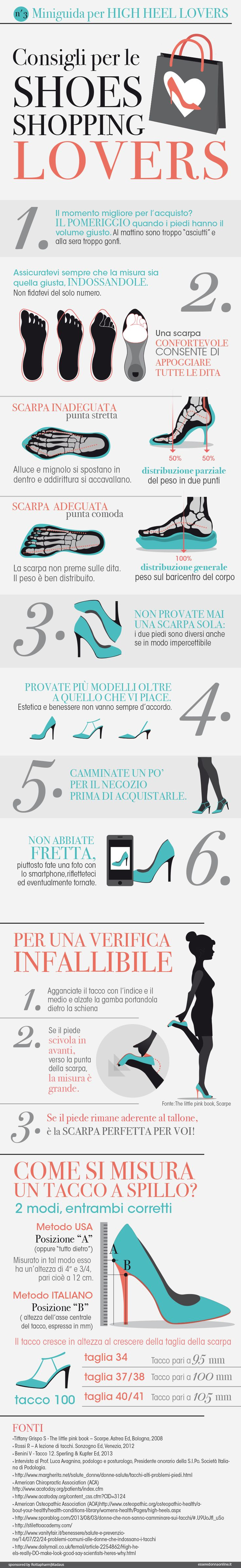 Consigli per le Shoes Shopping Lovers - infographics designed for esseredonnaonline.it- illustrated by Alice Kle Borghi, kleland.com