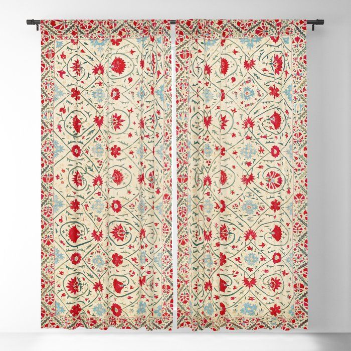 Buy Nurata Suzani Uzbekistan Embroidery Print Blackout Curtain By Vickybragomitchell Worldwide Shipping Available At Suzani Blackout Curtains Blackout Drapes