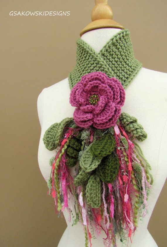 Rose Flower Scarflette by gsakowskidesigns on Etsy