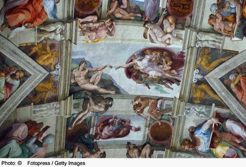 Sistine Chapel Ceiling:   The panel showing the creation of man is probably the best-known scene in the famous fresco by Michelangelo on the ceiling the Sistine Chapel.  4 of 53  PreviousNext