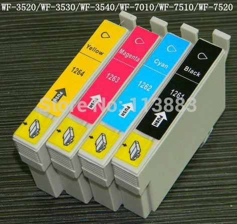 12 INK 126 T1261-T1264 compatible ink cartridge for EPSON WF-3520/WF-3530/WF-3540/WF-7010/WF-7510/WF-7520 printer