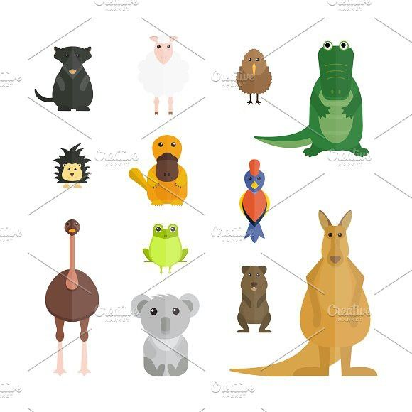 Australia Wild Animals Vector Wild Animals Vector Animals Wild Cartoon Animals