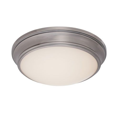 dweLED Astoria Antique Nickel LED Flush Mount with Etched White Glass Diffuser