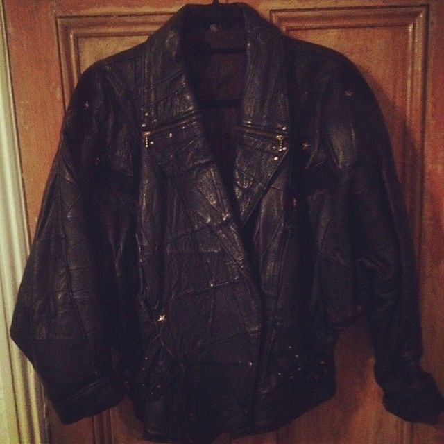 90s patchwork batwing leather jacket £35
