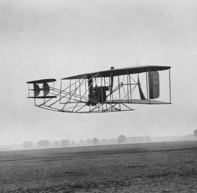 Flown by Orville, the Wright Brothers' Flyer I, 1903, flew 120 ft in 12 seconds at a speed of 6.8 mph.