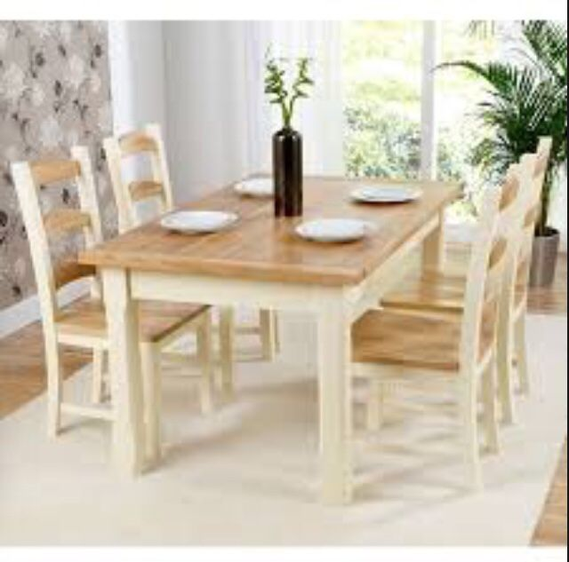 Painted cream Corona dining table