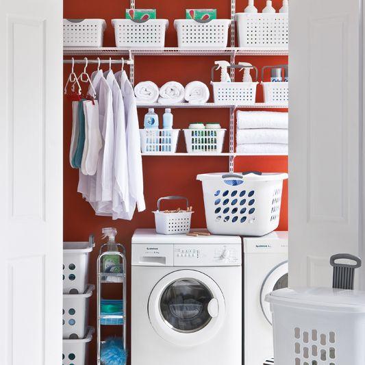 Howards Storage World | elfa Hide Away Laundry-Platinum