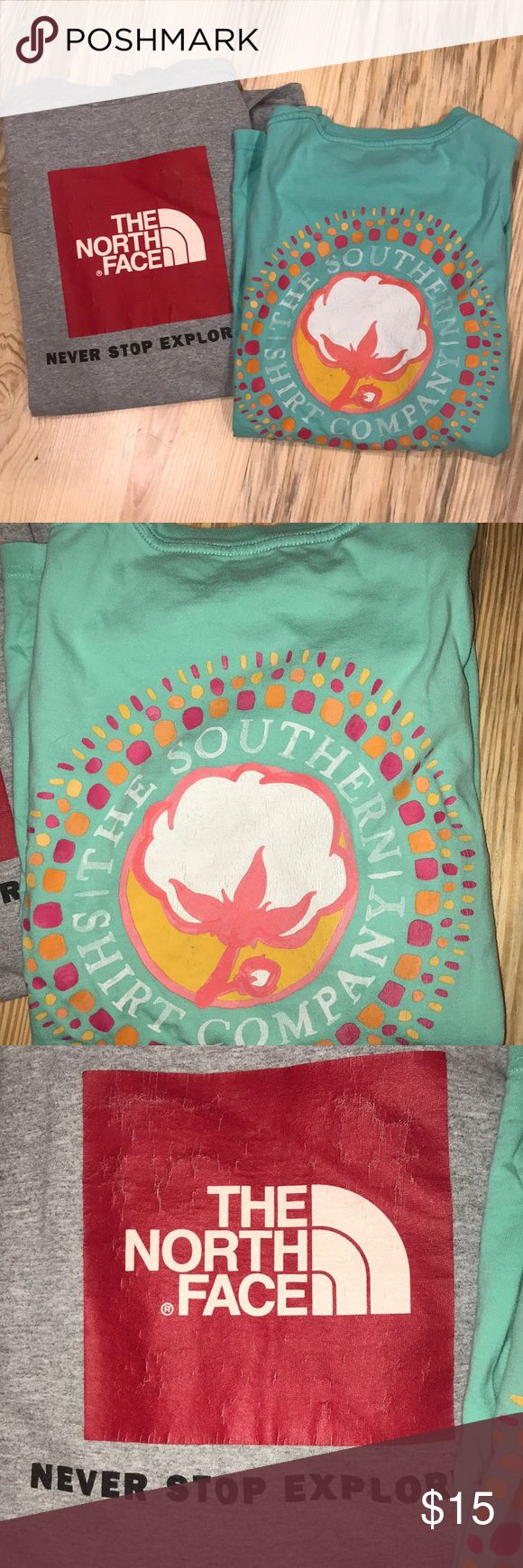 The North Face shirt & The Southern Tee Shirt Two shirts! Both have been worn but have lots of life left in them! I can sell them separately!   The North Face -long sleeve -size medium -gray and red -small stain on the front -symbol on the back is starting to crack  The Southern Shirt Company -size medium -teal shirt -symbol on the back is starting to crack  -short sleeve The North Face Tops Tees - Long Sleeve