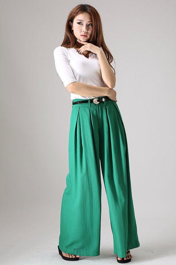 Wide Leg pants, linen clothes, long trousers, green pants, palazzo pants, Custom pants, long pants  (840)