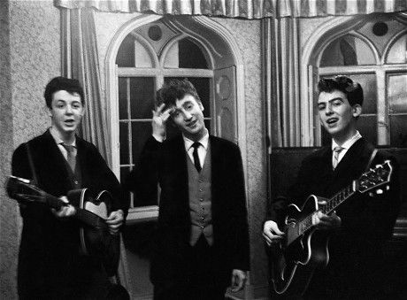 The Beatles at a wedding Reception at the Harrison's, in 1958, still known as The Quarry Men.   http://www.telegraph.co.uk/culture/music/the-beatles/10321180/The-Beatles-the-birth-of-the-band.html