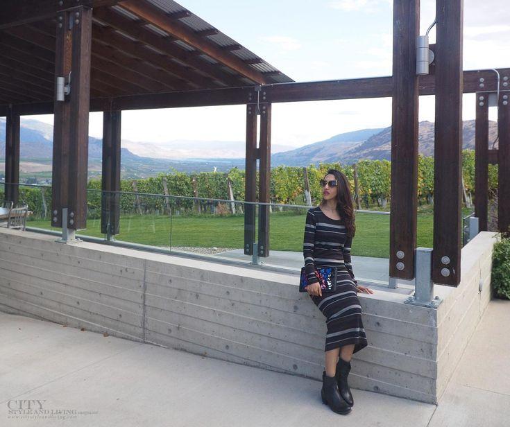 Cabernet striped midi dress with chelsea boots and miu miu sunglasses at culmina family estate winery in The Okanagan. #stripedress #miumiuscenique