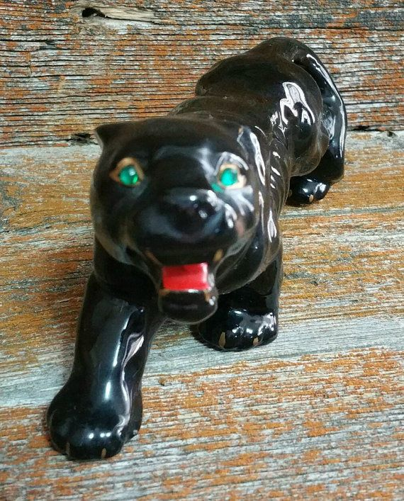 Vintage ceramic black panther figurine ceramic cat figurine black panther decoration mid - Ceramic black panther statue ...
