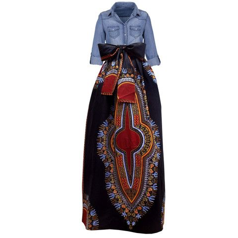 Dashiki African Print Maxi Skirt (Black/Maroon) – D'IYANU