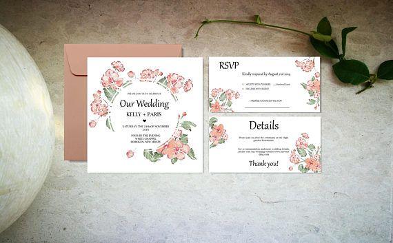 Pink flowers wedding invitation set template Digital boho