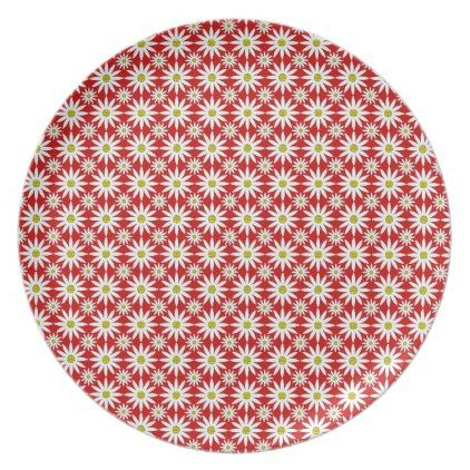 Dynamic Daisies Red Dinner Plate - kitchen gifts diy ideas decor special unique individual customized
